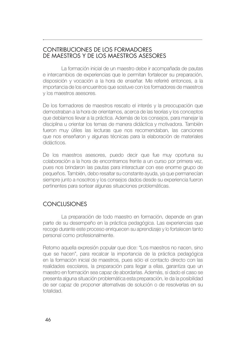 46 CONTRIBUCIONES DE LOS FORMADORES DE MAESTROS...