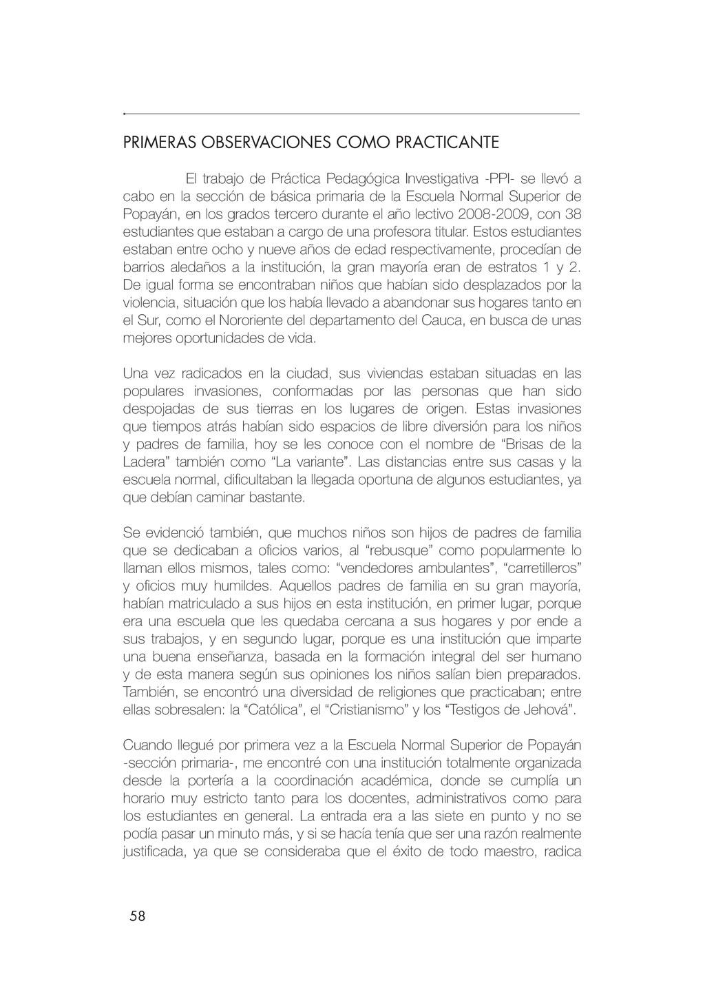 58 PRIMERAS OBSERVACIONES COMO PRACTICANTE El t...