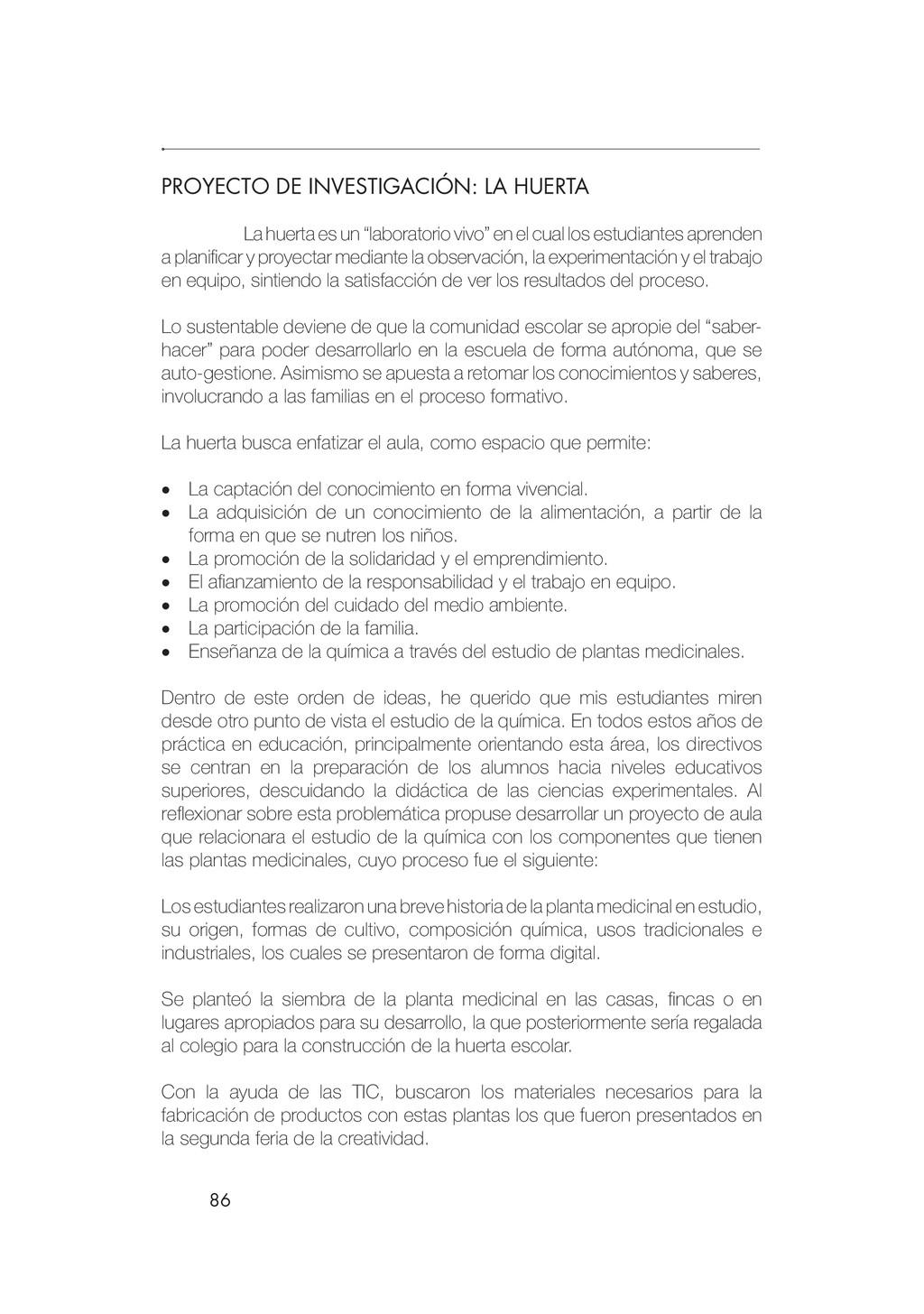 86 PROYECTO DE INVESTIGACIÓN: LA HUERTA La huer...