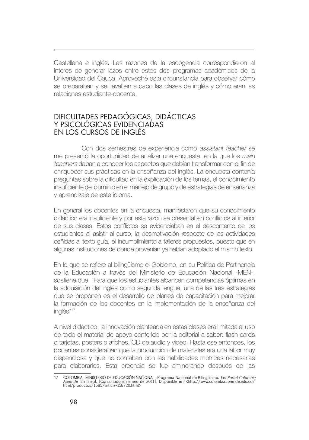 98 Castellana e Inglés. Las razones de la escog...