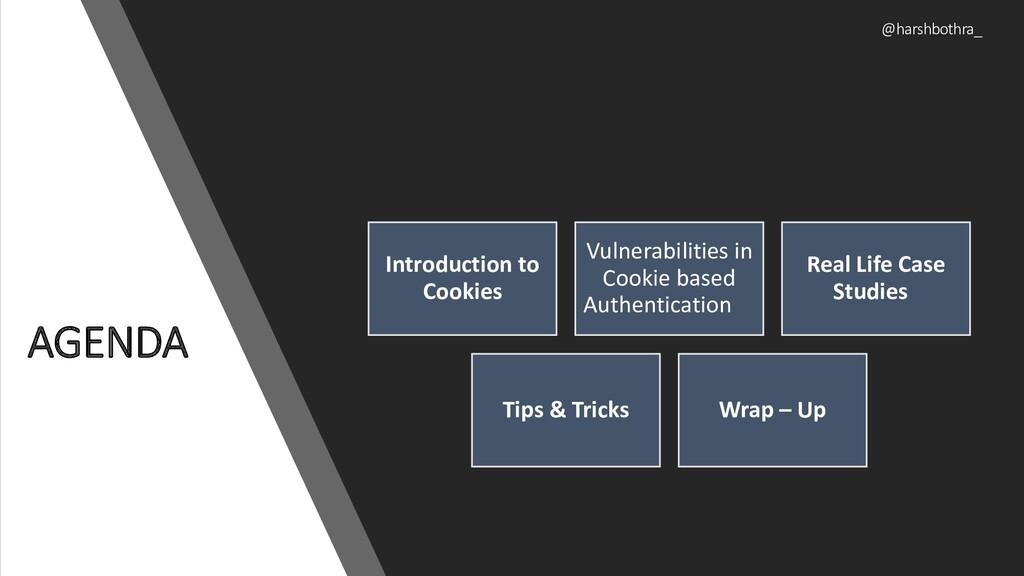 AGENDA @harshbothra_ Introduction to Cookies Vu...