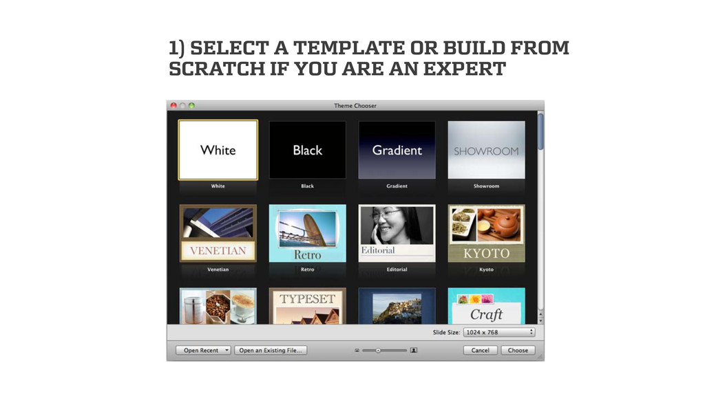 1) SELECT A TEMPLATE OR BUILD FROM SCRATCH IF Y...
