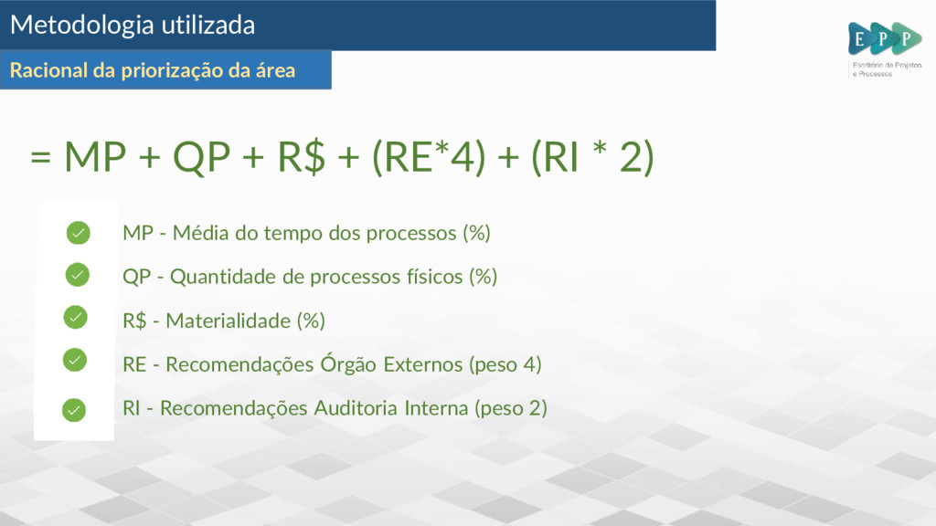 = MP + QP + R$ + (RE*4) + (RI * 2) MP - Média d...
