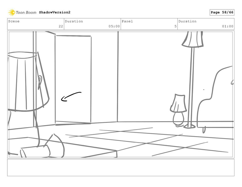 Scene 22 Duration 05:00 Panel 5 Duration 01:00 ...