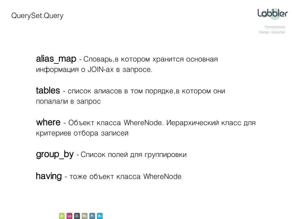 QuerySet.Query Препарируем Django: QuerySet ali...