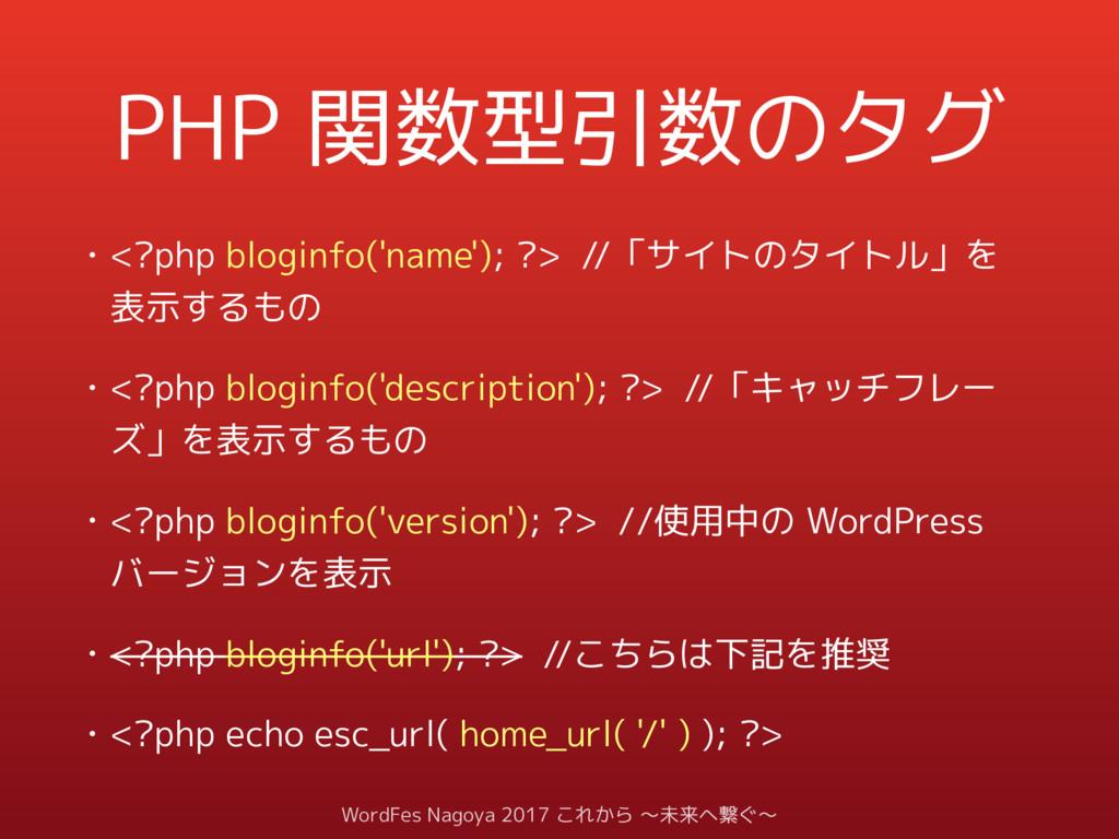 PHP 関数型引数のタグ • <?php bloginfo('name'); ?> //「サイ...