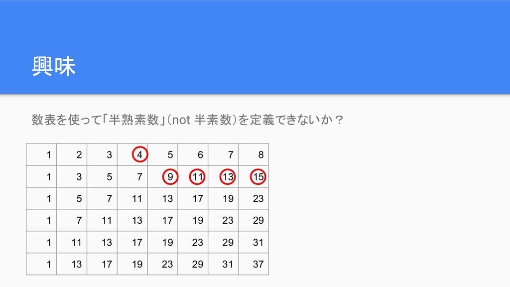興味 数表を使って「半熟素数」(not 半素数)を定義できないか? 1 2 3 4 5 6 7...