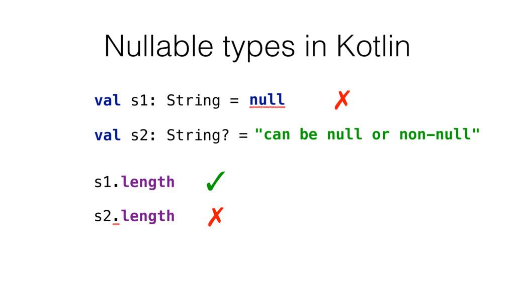 """Nullable types in Kotlin val s1: String = """"alwa..."""