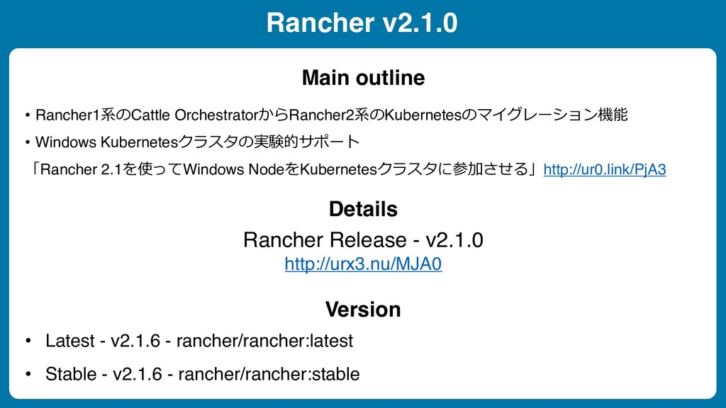 Rancher v2.1.0 • Rancher1$ Cattle Orchestrator...