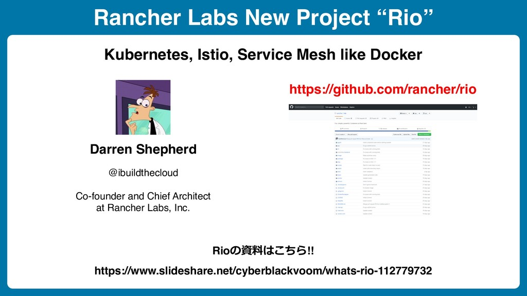 "Rancher Labs New Project ""Rio"" Kubernetes, Isti..."