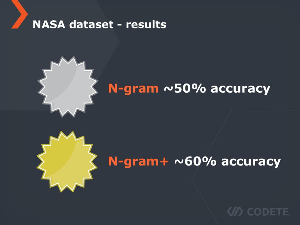 NASA dataset - results N-gram ~50% accuracy N-g...