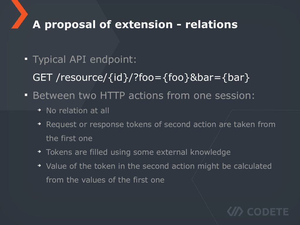 Typical API endpoint: GET /resource/{id}/?foo={...