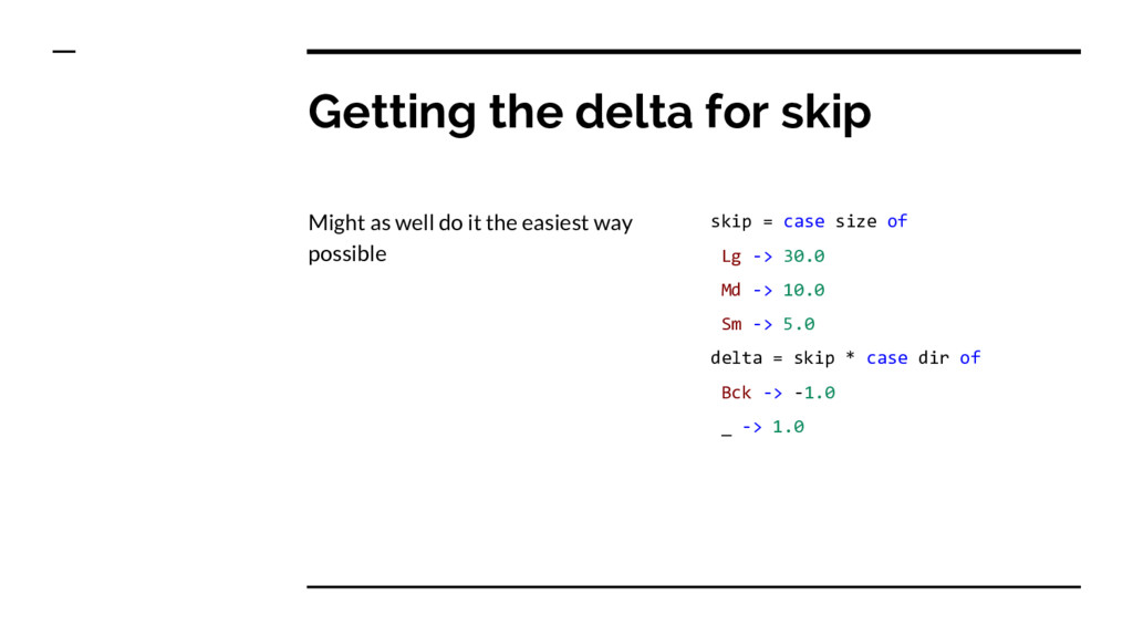 Getting the delta for skip Might as well do it ...