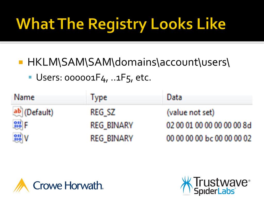 ¡ HKLM\SAM\SAM\domains\account\users\  §...
