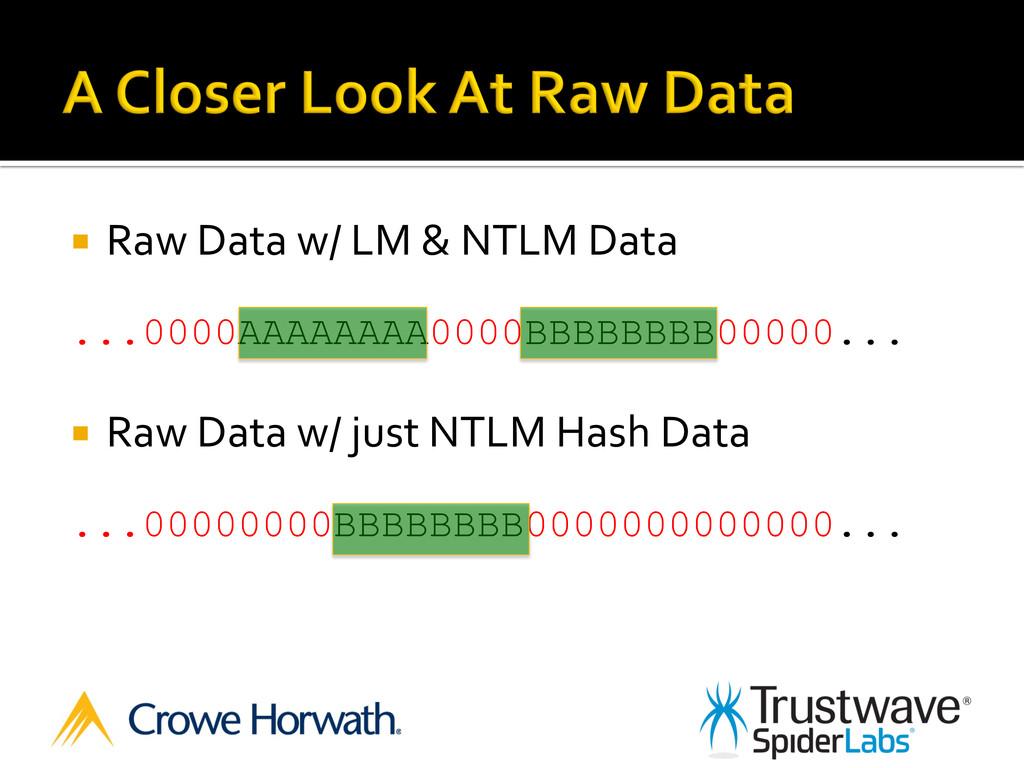 ¡ Raw Data w/ LM & NTLM Dat...