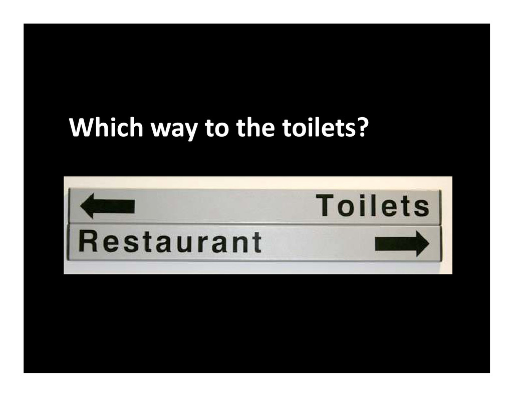 Which way to the toilets?