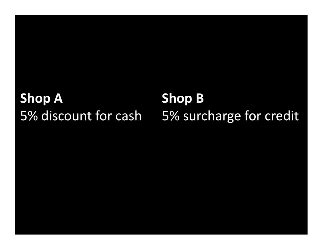Shop A 5% discount for cash Shop B 5% surcharge...
