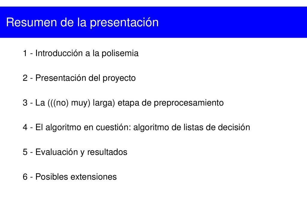 1  Introducción a la polisemia 2  Presentació...