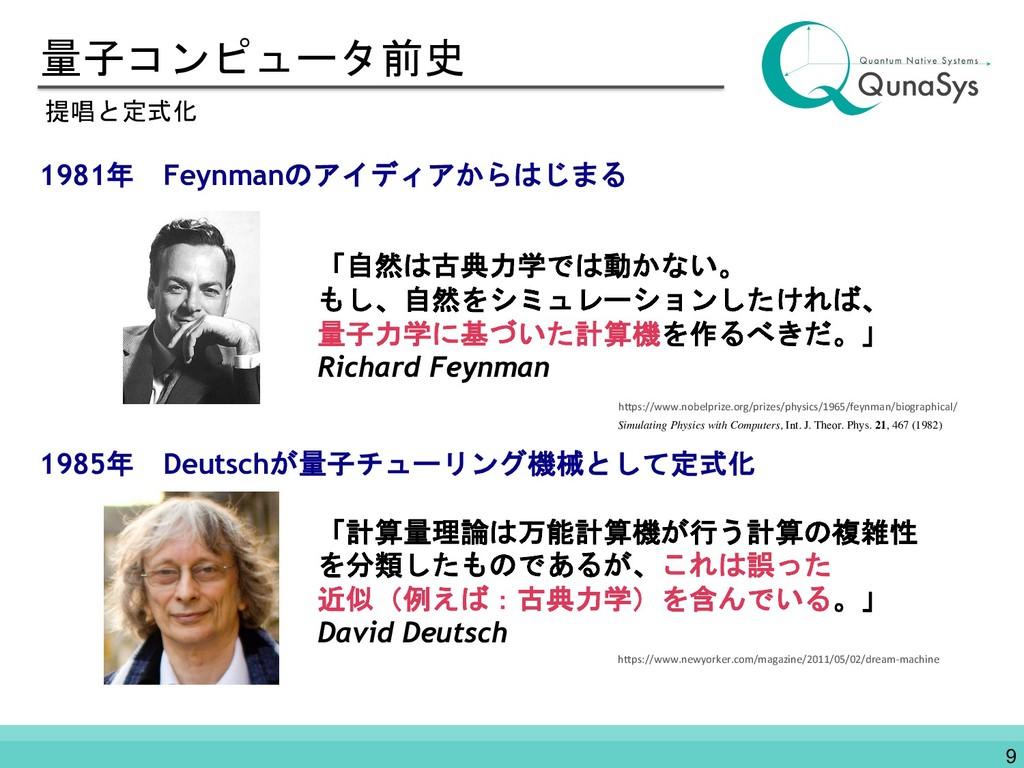 量子コンピュータ前史 1981年 Feynmanのアイディアからはじまる 1985年 Deut...