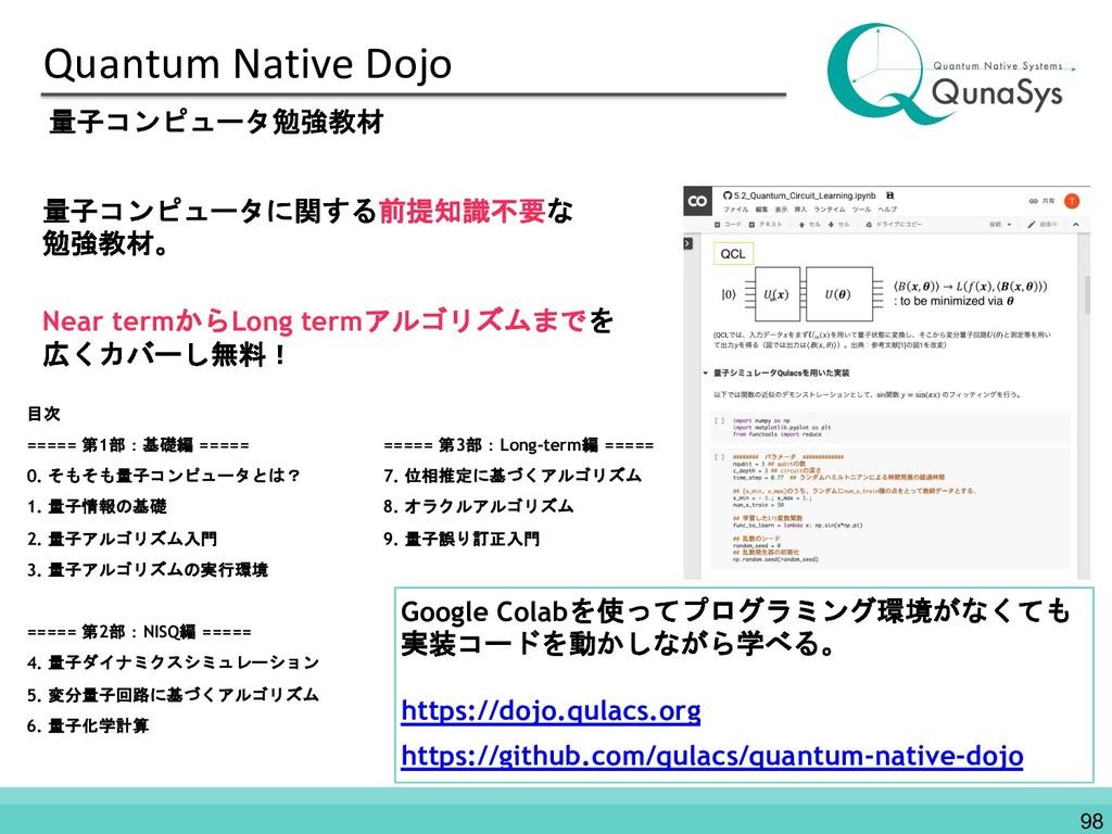 Quantum Native Dojo 98 量子コンピュータ勉強教材 目次 ===== 第1...