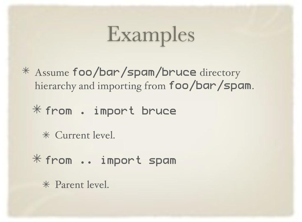 Examples Assume foo/bar/spam/bruce directory hi...