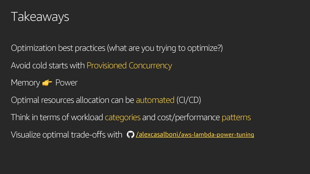 Takeaways Optimization best practices (what are...