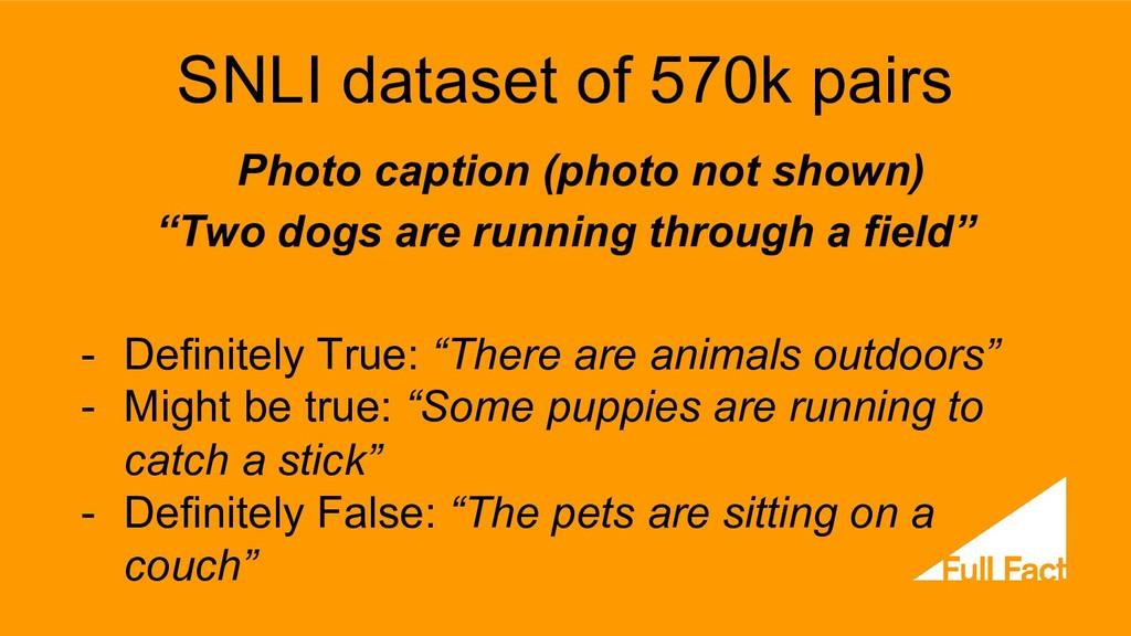 SNLI dataset of 570k pairs Photo caption (photo...
