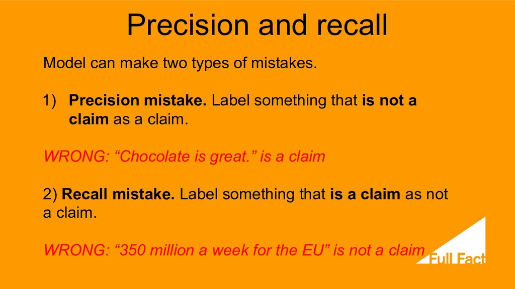 Precision and recall Model can make two types o...