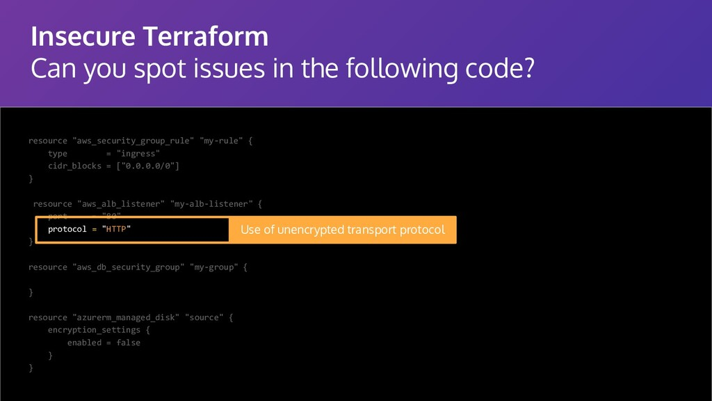Insecure Terraform Can you spot issues in the f...