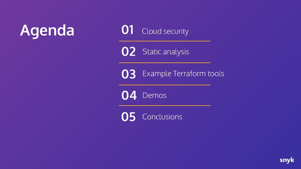 Agenda Cloud security 01 Static analysis 02 Exa...