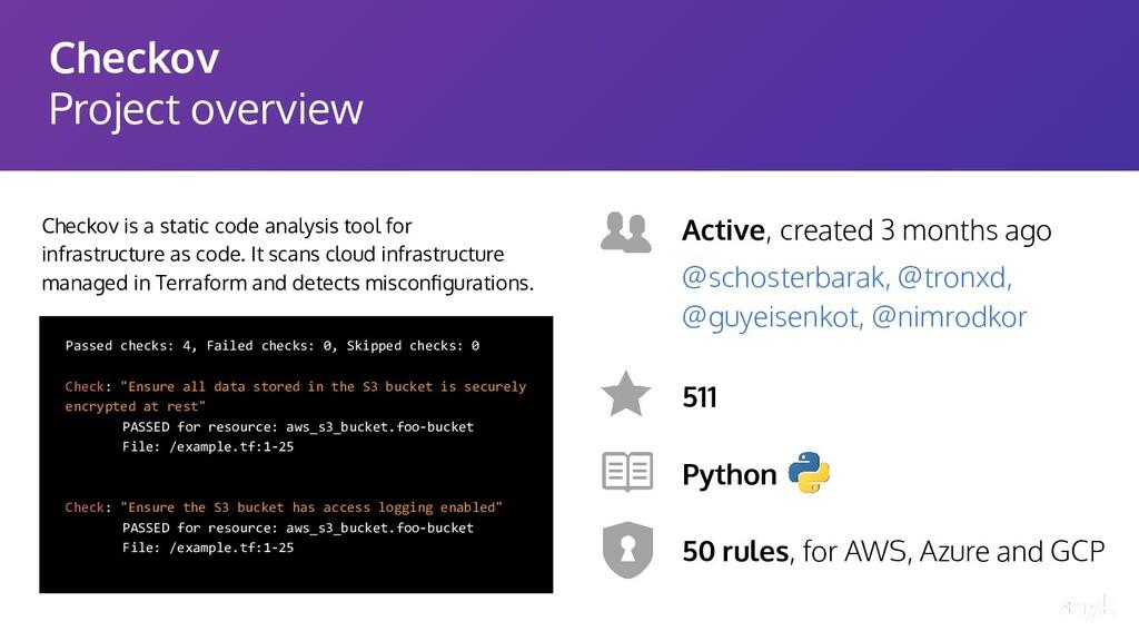 Checkov Project overview Checkov is a static co...