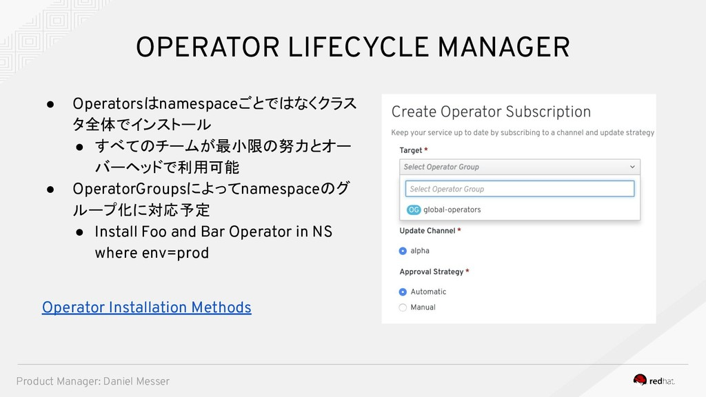 OPERATOR LIFECYCLE MANAGER ● Operatorsはnamespac...