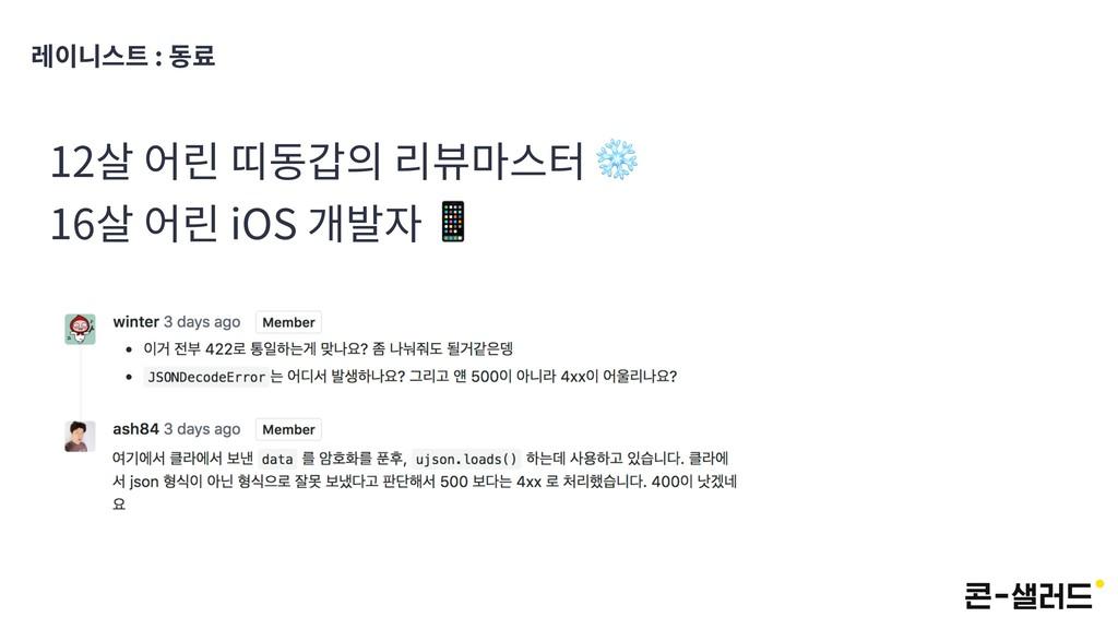 레이니스트 : 동료 12살 어린 띠동갑의 리뷰마스터 ❄ 16살 어린 iOS 개발자