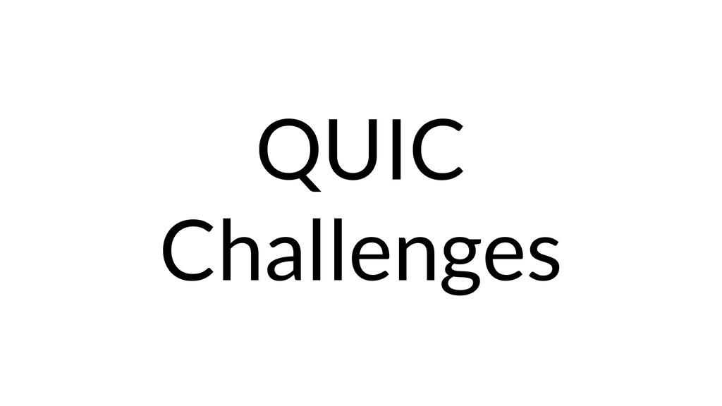 QUIC Challenges