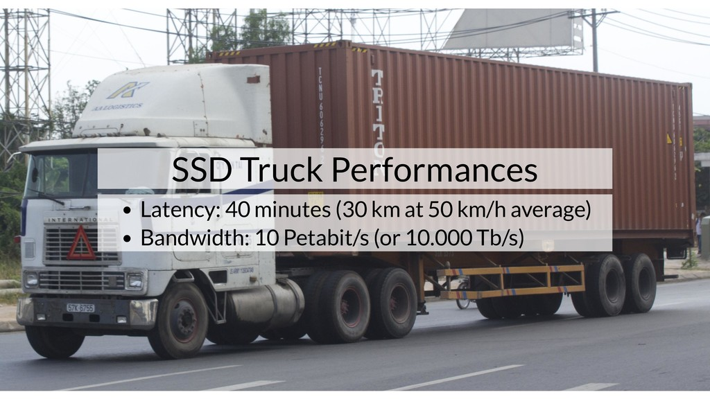 SSD Truck Performances Latency: 40 minutes (30 ...