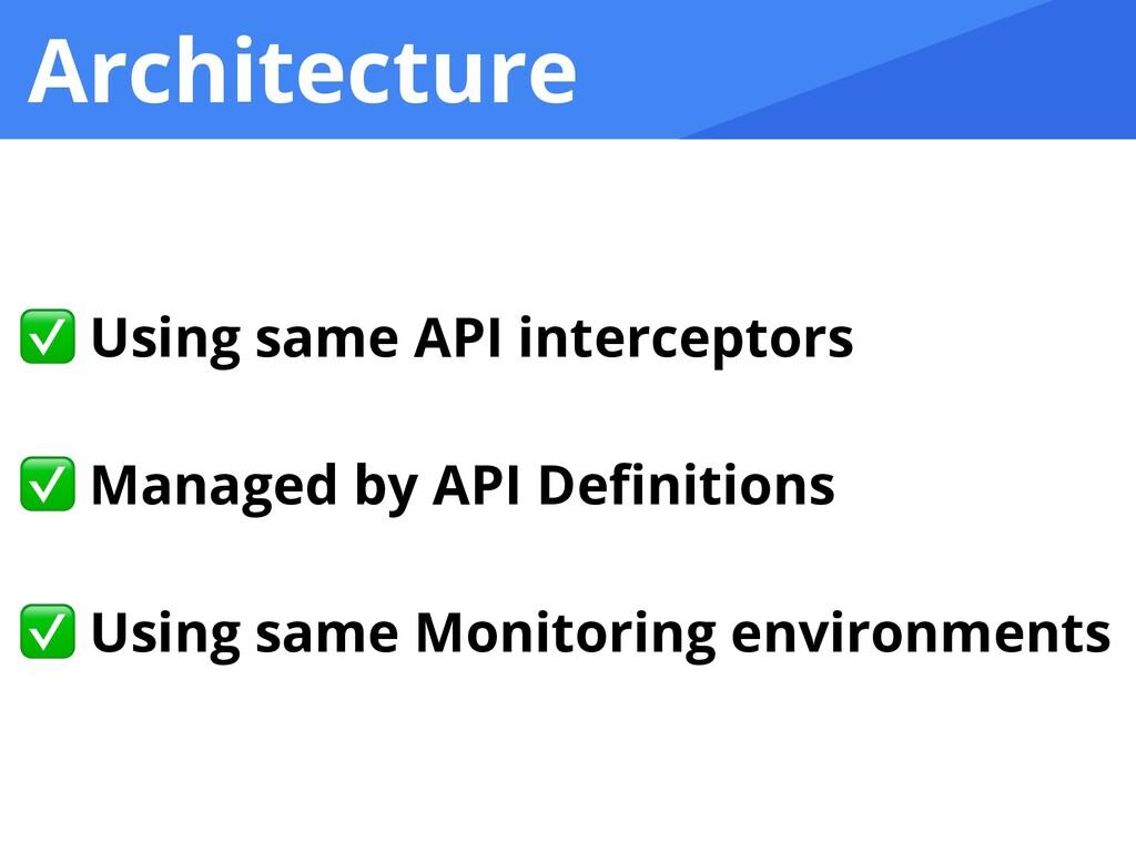 Architecture ✅ Using same API interceptors   ✅ ...