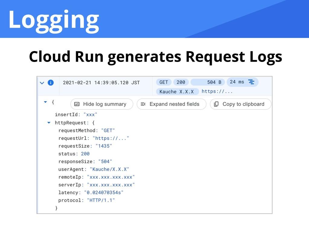 Logging Cloud Run generates Request Logs