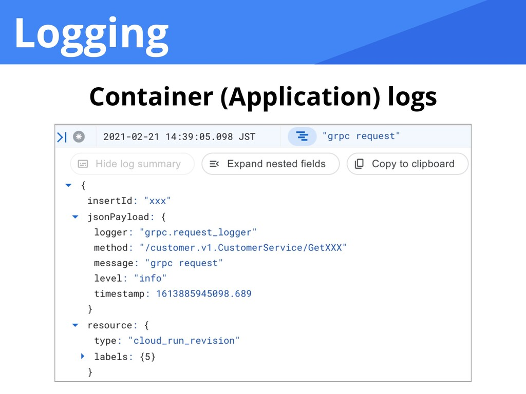 Logging Container (Application) logs