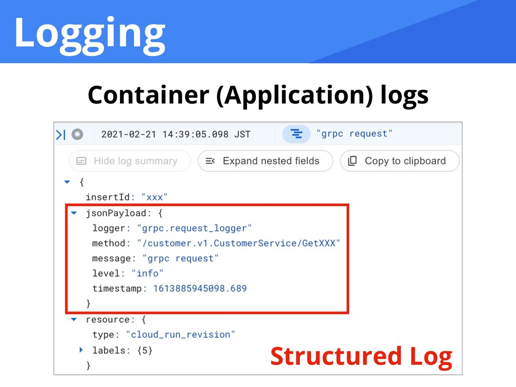Logging Container (Application) logs Structured...