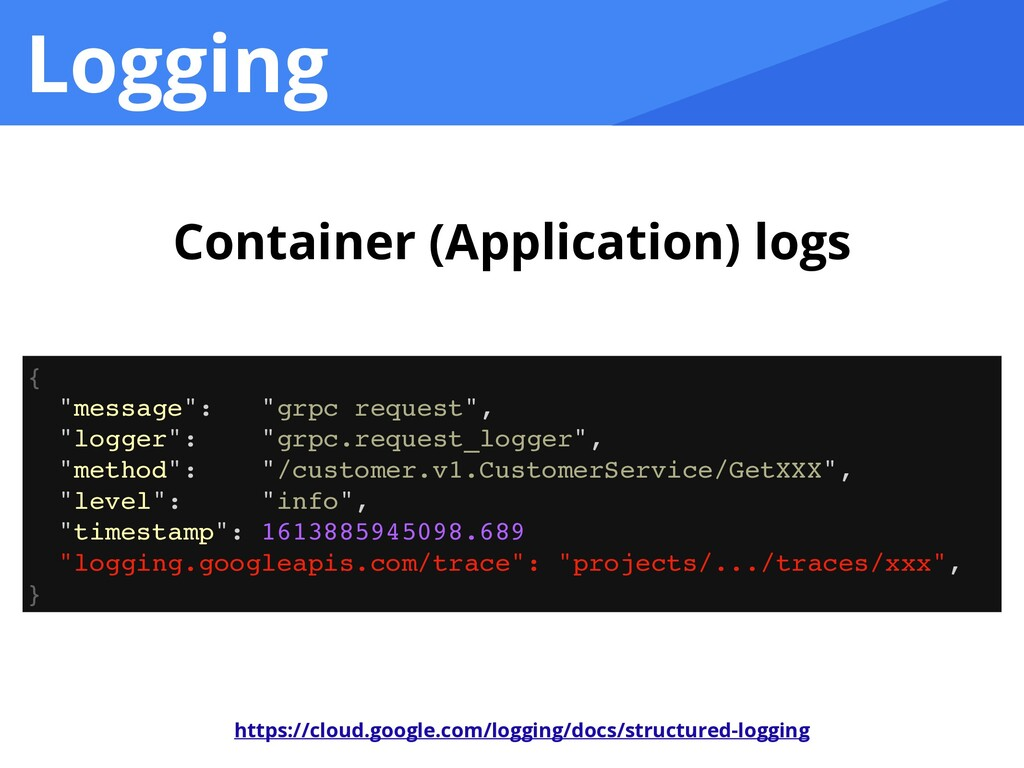 "Logging Container (Application) logs { ""message..."