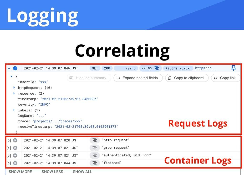 Logging Correlating Request Logs Container Logs