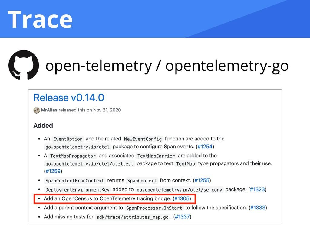 Trace open-telemetry / opentelemetry-go