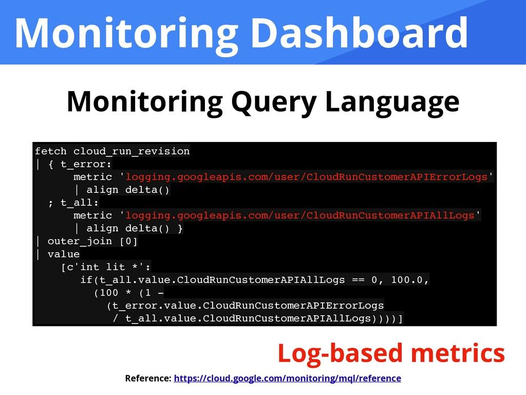 Monitoring Dashboard fetch cloud_run_revisio n ...