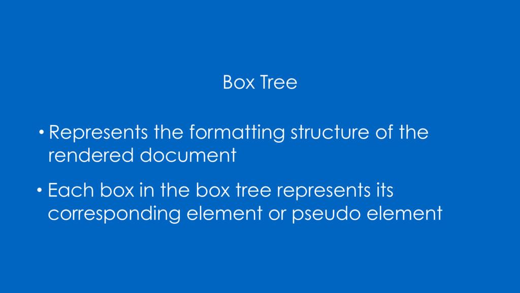 Box Tree • Represents the formatting structure ...