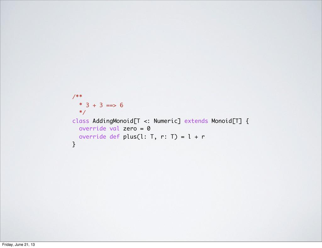 /** * 3 + 3 ==> 6 */ class AddingMonoid[T <: Nu...