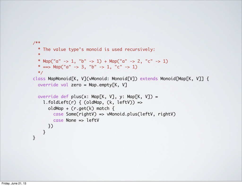 /** * The value type's monoid is used recursive...