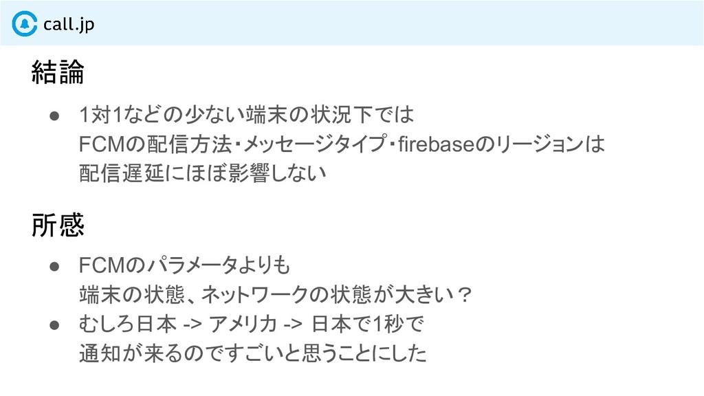 結論 ● 1対1などの少ない端末の状況下では FCMの配信方法・メッセージタイプ・fireba...