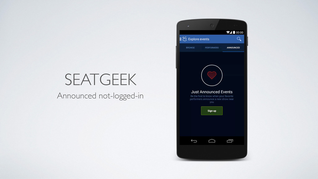 SEATGEEK Announced not-logged-in