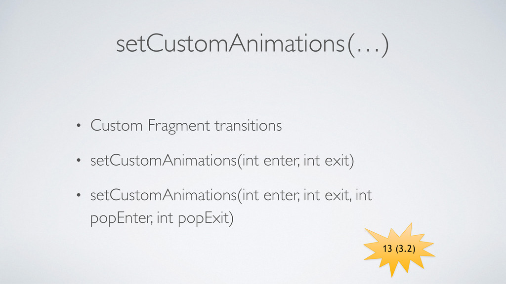 setCustomAnimations	 