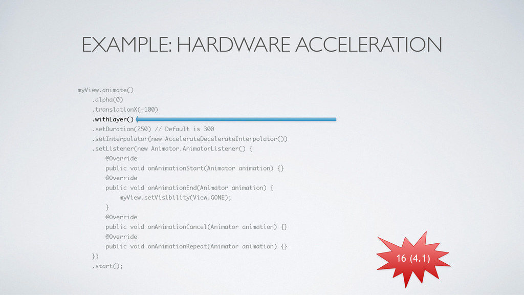 EXAMPLE: HARDWARE ACCELERATION myView.animate()...